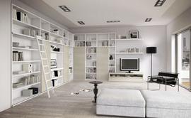 壁面巨大本棚,白,木製